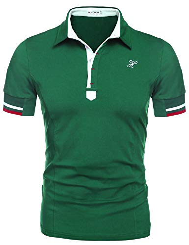 Hotouch Men Slim Fit T-Shirts Short Sleeve Fashion Polo Shirt Aqua Green L