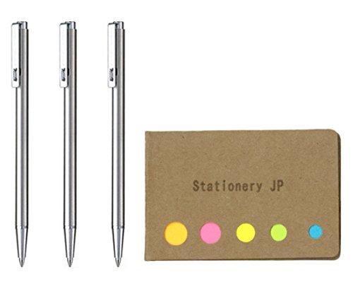 Zebra Techo T-3 Mini Ballpoint Pen for Notebook, 0.7 mm, Black Ink, 3-pack, Sticky Notes Value Set