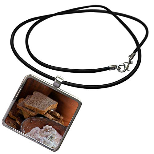 (3dRose Alexis Photography - Food Bread - Slices of Bread and a Ceramic Plate with Flour and Food Ingredients - Necklace with Rectangle Pendant)