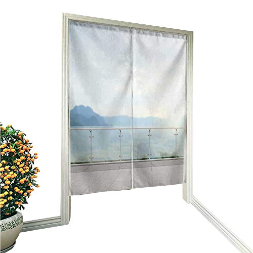 (aolankaili Japanese Style Noren Door Curtainbalcony and Terrace of The Blur Nature Background Tapestry Cotton Linen Curtain Blind 33.5