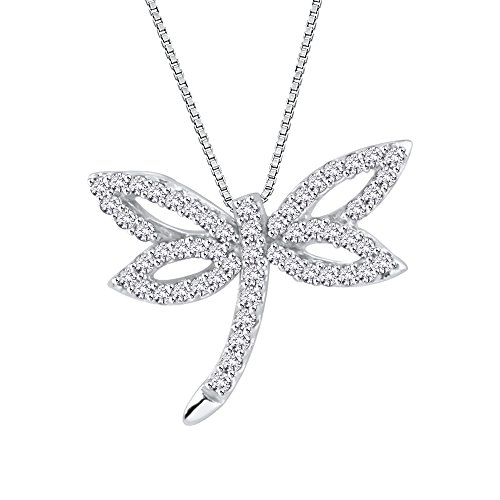 Diamond Dragonfly Pendant Necklace in 10K White Gold (1/4 cttw) (Color JK, Clarity - Gold Pendant Dragonfly 10k