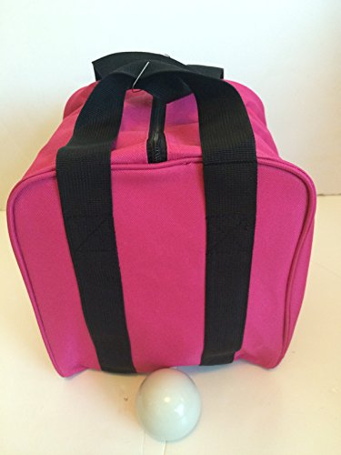 Unique Bocce Accessories Package - Extra Heavy Duty Nylon Bocce Bag (Pink with Black Handles) and White pallina by BuyBocceBalls