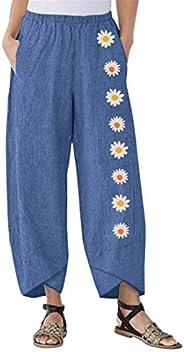 Puimentiua Womens Wide Leg Palazzo Cotton Linen Pants Bohemian Yoga Hippie Flowy Harem Pajama Lounge Trousers.