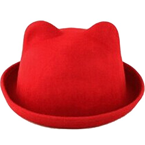 eYourlife2012 Women's Candy Color Wool Rool Up Bowler Derby Cap Cat Ear Hat (Red) (Red Ladies Candy Cap)