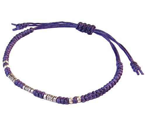 BUSABAN Asian Handmade Bracelet 925 Silver Feather Beads Purple Wax String