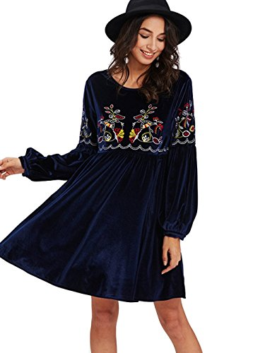 Fall Bishop Dress (Milumia Women's Tasseled Tie Bishop Sleeve Embroidery Velvet Sexy Dress Medium Navy-3)