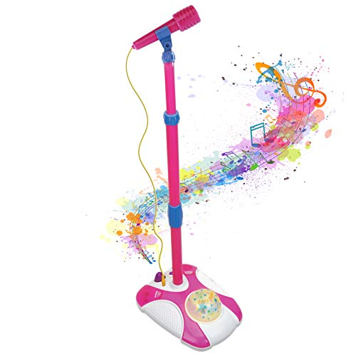Karaoke Disco Light Adjustable Mic & Speaker Stand! Includes 12 pre-Loaded Popular Songs and Connects to iPods, Smartphones & MP3 Players (Pink) (On Microphone Stand Kids)