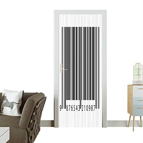 (Waterproof Decoration Door DecalsBarcode Symbol Background Codes Data Software Linear Dimensial Artwork Perfect ornamentW30 x H80 INCH)