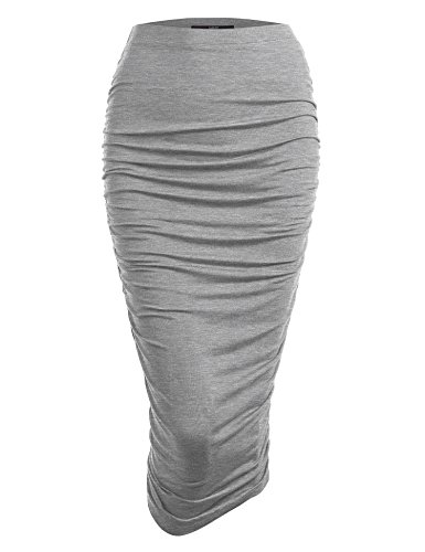 Made By Johnny WB1147 Womens Elegant High Waist Pencil Skirt with Side Shirring XS Heather_Grey