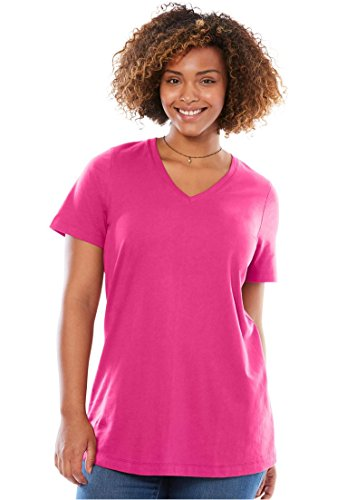 Womens Plus Size Perfect V Neck Tee Passion Pink 3X