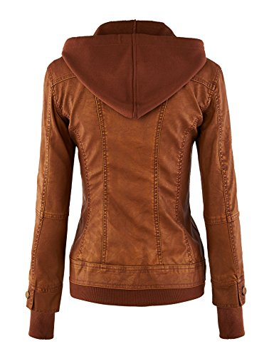 MBJ Womens Faux Leather Motorcycle Jacket with Hoodie - stylishcombatboots.com