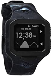 Nixon Supertide Black Digital Dial Marbled Black Smoke Molded Silicone Mens Watch A3161611