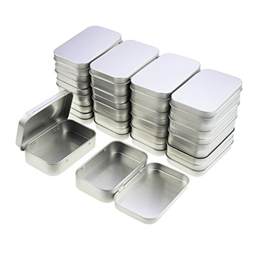 LJY 22 Pieces Rectangular Metal Empty Hinged Tins Containers Basic Necessities Home Storage Organizer Mini Box Set (3.75 x 2.45 x 0.8 inch)