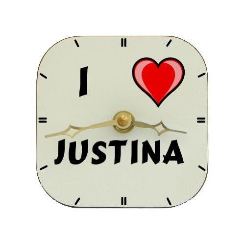 Reloj de mesa con Amo Justina (nombre de pila/apellido/apodo): Amazon.es: Hogar