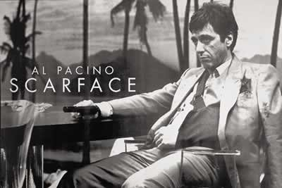 Scarface - Sling - Landscape b/w - Huge Film PAPER POSTER measures aproximately 100 x 70cm Greatest Films Collection Directed by Brian De Palma. Starring Al Pacino, Steven Bauer, Michelle - Palma Collection La