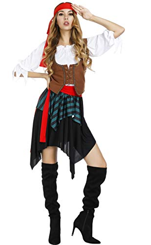 frawirshau Women's Pirate Wench Costume Halloween Cosplay Swashbuckler Pirate Costumes L -