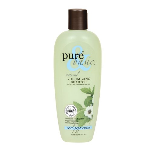 2 Packs of Pure And Basic Natural Volumizing Shampoo Cool Peppermint - 12 Fl Oz