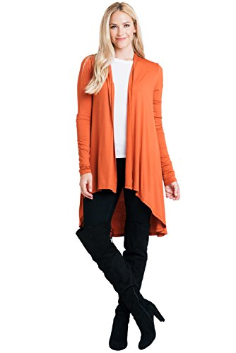 ReneeC. Women's Natural Bamboo Super Soft Open Front Long Cardigan - Made in USA (X-Large, ()