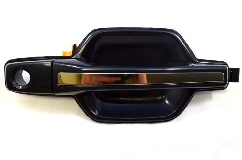 PT Auto Warehouse MI-3238S-FR - Outside Exterior Outer Door Handle, Smooth Black Housing with Chrome Insert Lever - Passenger Side Front