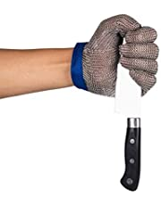 ThreeH Steel Mesh Gloves 304L Safety Cutting Gloves for Kitchen,Oyster Shucking,Meat Cutting and Wood Carving GL08 L(One piece)