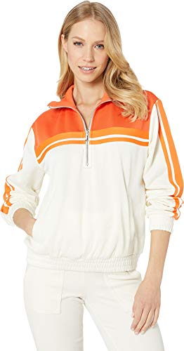 (Juicy Couture Women's Stripe Tricot 1/2 Zip Track Jacket Angel/Tigerlily Large)