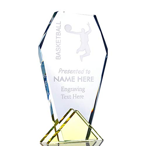 H&D Customizable 7.6 Inch Polygon Optical Crystal Glass Award with Base Crystal Flame Trophy Gift Boxed, Includes Personalization