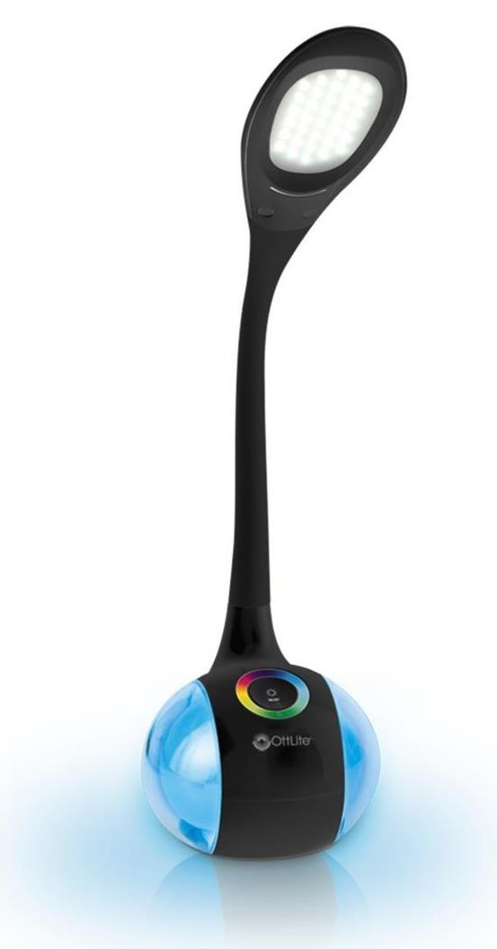 6 x 8.19 x 10.19 Black 6 x 8.19 x 10.19 OttLite Technologies OttLite BY2G59-FFP OttLite Led Desk Lamp with Color Changing Base