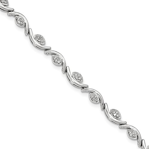 ICE CARATS 14k White Gold Diamond Wave Bracelet 7.50 Inch Fine Jewelry Ideal Mothers Day Gifts For Mom Women Gift Set From Heart (Gold White Bracelet Wave)
