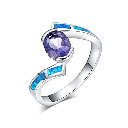Sinlifu Fashion Women Rings Silver Tanzanite Blue Fire Opal Jewelry (8, Blue - Tanzanite Opal Fire Ring