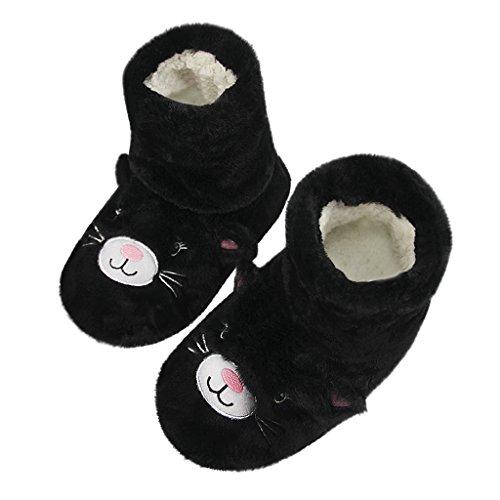 Mules Womens Clog Cozy Slip Cartoon Fleece Footwear Warm Girls Bootie Fuzzy Winter slip Plush Long Lightweight Non Greenery Soft Kitten Socks gre Bedroom Shoes House On Floor Boots Indoor Cat Slipper Black q5px4OOfWn