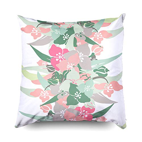 Shorping Decorative Pillow Covers 20X20 Inch Throw Pillows Elegant Pattern Lily Flowers Elements Floral Wedding Greeting Cards Decorative Throw,Cushion Cover for Home Sofa Bedding