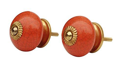 Deal of The Day - Ceramic Knobs Set of 2 Orange Round (2 Door Ceramic Vanity)