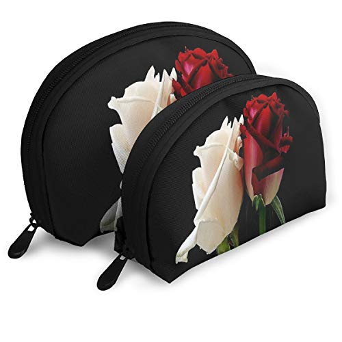Makeup Bag HD Red Rose Wallpaper Portable Shell Clutch Pouch For Girlfriend Halloween Gift Pack - -