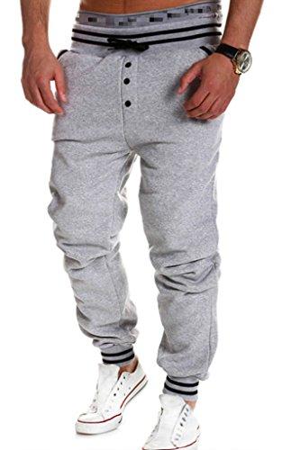 XTX Men's Cool pants Solid Cotton Baggy Jogger Sport Sweat Trousers M Gray