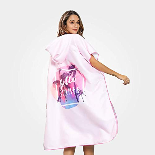 Beach Poncho Women, Adult Bath Microfiber Changing Towel Windproof Warm Water Absorption and Quick-Drying for Beach Surf Swim,B