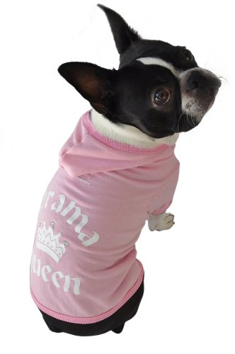 Ruff Ruff and Meow Dog Hoodie, Drama Queen, Pink, Medium