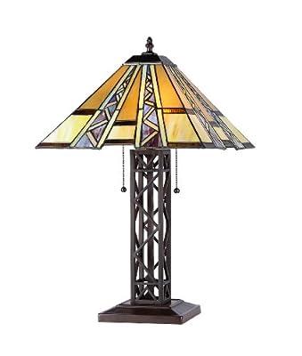 "Chloe Lighting CH33226MI14-TL2 ""Progressive"" Tiffany-Style Mission 2 Light Table Lamp 14"" Shade"