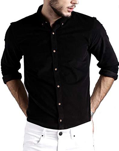 DEZANO Men's Cotton Stylish Solid Full Sleeve Button Down Shirt – Black