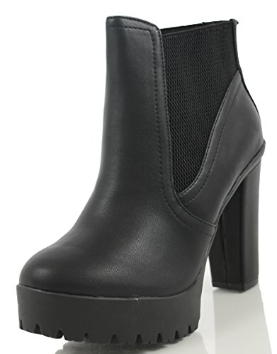 Black Platform Heel Shoes (Delicious Women's Semper Faux Leather Closed Toe Elastic Side Panel Lug Platform High Heels Ankle Bootie, Black, 6.5 M US)