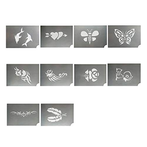 SM SunniMix 10 Pieces Assorted Animal Flower Body Art Face Paint Stencils Reusable Template Soft for Birthday, Party, Stage, Festival Makeup