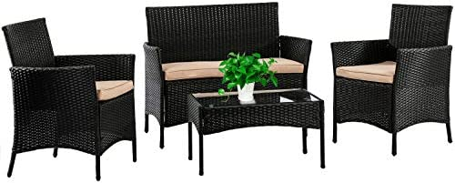 FDW Patio Furniture Set 4 Pieces Outdoor Rattan Chair Wicker Sofa Garden Conversation Bistro Set