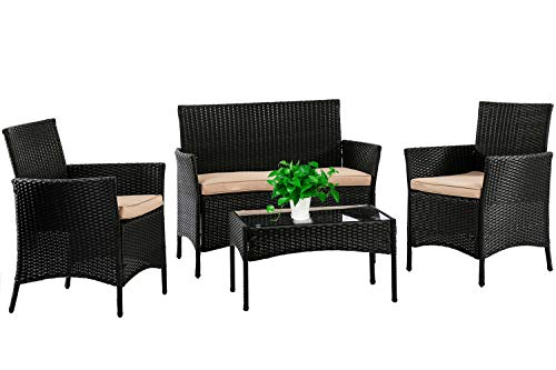 Patio Furniture Set 4 Piece Outdoor Wicker Sofas Rattan...