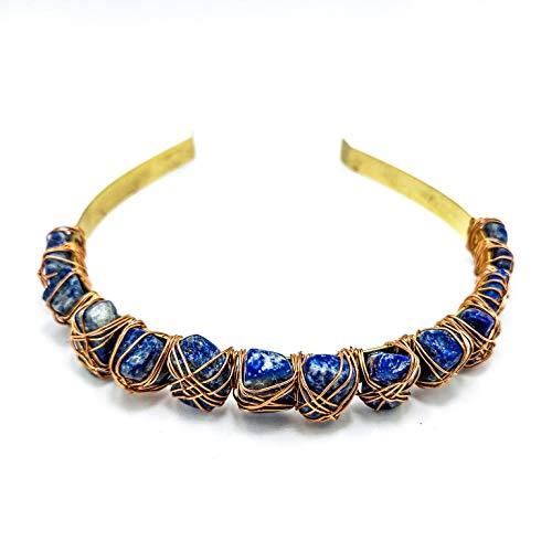 Blue Lapis Lazuli Wedding Crown Raw Natural Crystal Quartz Headband Tiara Bridal Woman Headpiece