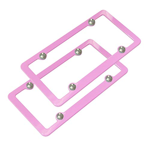 Ibetter 2 Pack Premium UV Resistant License Plate Frame, Slim Style Aluminum Metal Cute License Plate Holder Cover Pink Red for Women and Men (Pink Red 4 Holes)