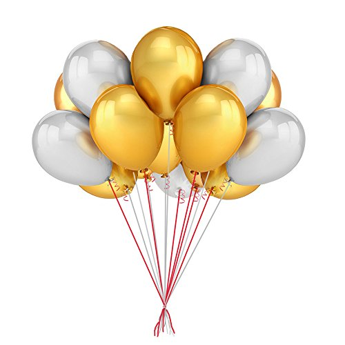 12 Inch Latex Metal Gold and Silver Big Balloon,50 Count Best Quality-Wedding Birthday Party (Silver And Gold Balloons)