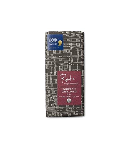 Raaka Chocolate Bars, Bourbon Cask Aged, 1.8 Ounce (Pack of 12) Aged Chocolate Candy