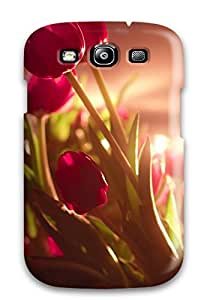 4683868K30542124 Special Skin Case Cover For Galaxy S3, Popular Vibrant Red Tulips Phone Case
