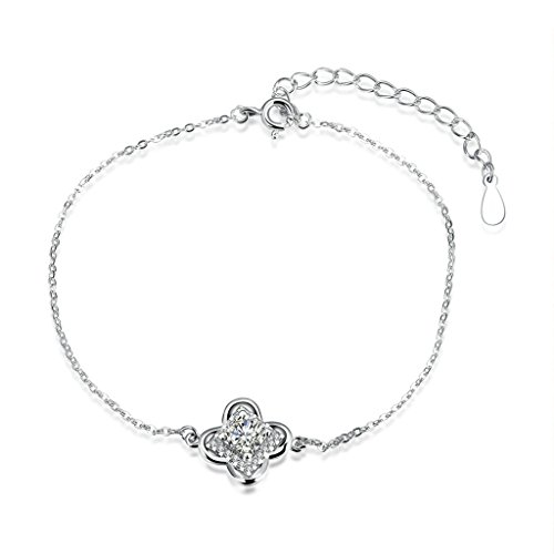 Ebay Costume Girl Hit (925 Sterling Silver Bracelet, Women's Charm Bracelet Flower Shape Cz Silver)