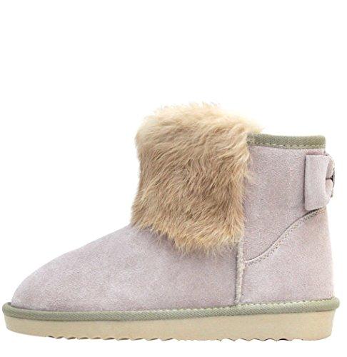 LYDC London Damen Echtleder Wildleder Warme Flauschige Boots Winter Schlupfstiefel Fransen Schleife Gefüttert Sale Leder Schuhe Beige
