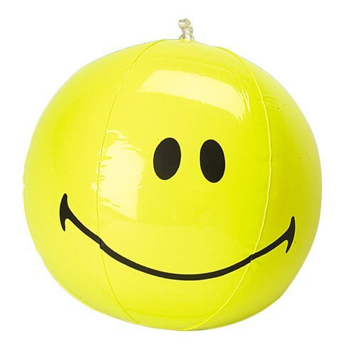 One Inflatable Yellow Smile Smiley Face Beach Ball - (Smiley Face Guy)